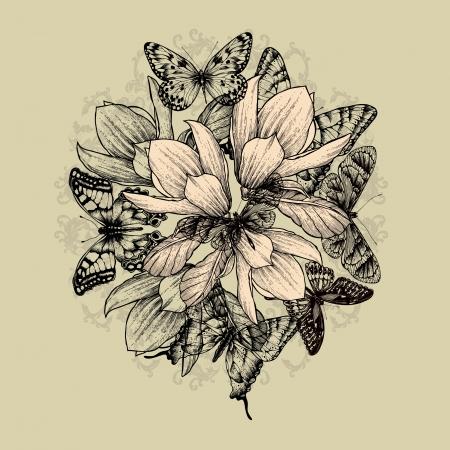 dessin fleur: Fond floral avec des fleurs de magnolia et de papillons. Vector illustration. Illustration