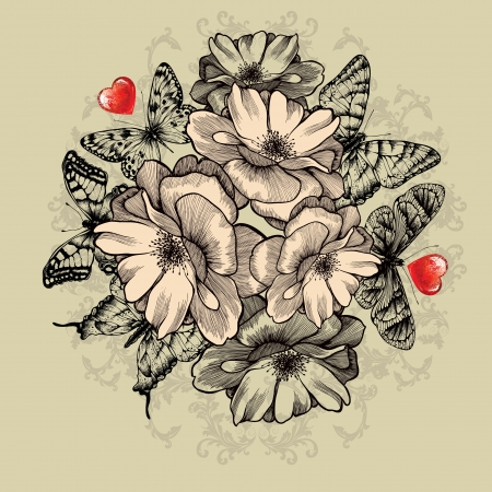 rosas negras: Fondo floral con rosas, corazones rojos y mariposas.