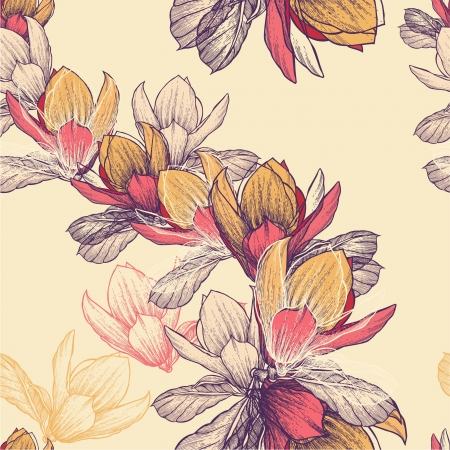Seamless pattern with blooming magnolia flowers, hand-drawing.  Vector