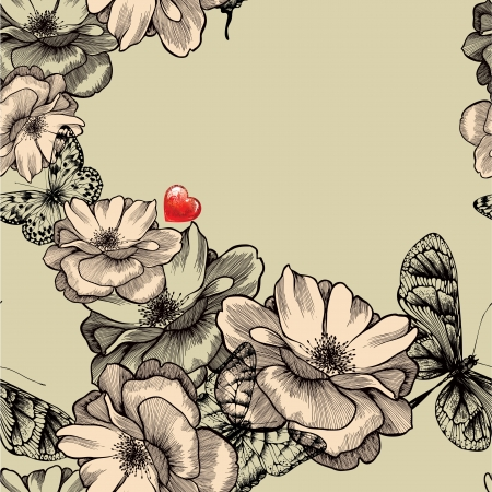 Seamless pattern with blooming roses, butterflies and red hearts. Vector illustration. Vector