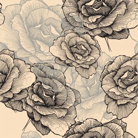 rosas negras: Patrón sin fisuras con rosas en flor