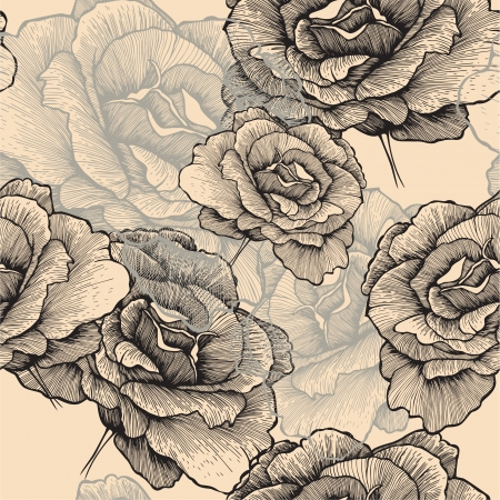 Seamless pattern with blooming roses  Vector