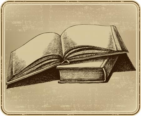 Libro abierto, dibujo a mano. Ilustración del vector.