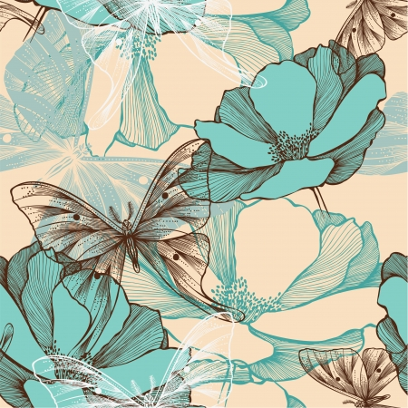 Seamless pattern with abstract flowers and decorative butterflies, hand-drawing. Vector