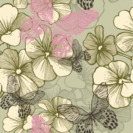Seamless pattern with blooming geraniums and butterflies, hand-drawing. vector illustration.