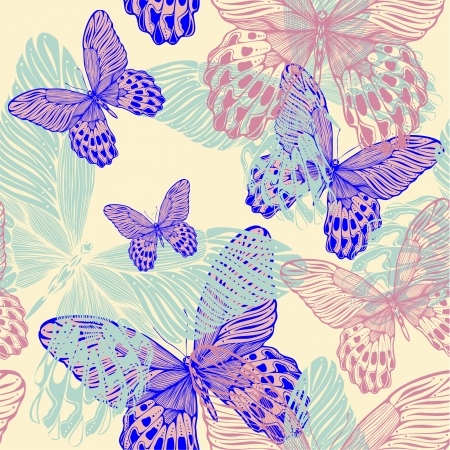 animal print: Seamless decorative pattern with colorful butterflies, hand-drawing. vector illustration. Illustration