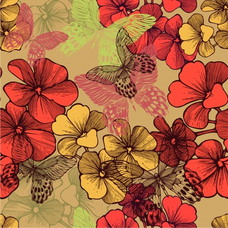 Seamless pattern with blooming geraniums and decorative butterflies. Vector illustration. Illustration