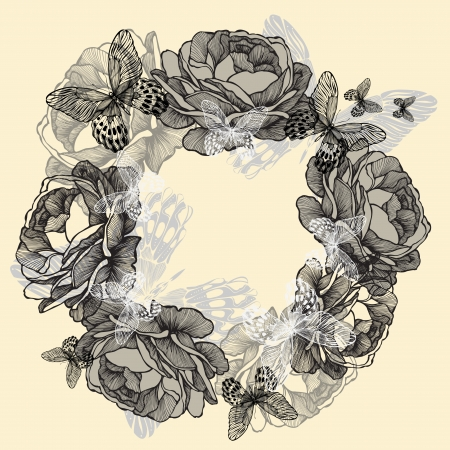 Wreath of roses, butterflies, hand-drawing. Vector illustration. Vector