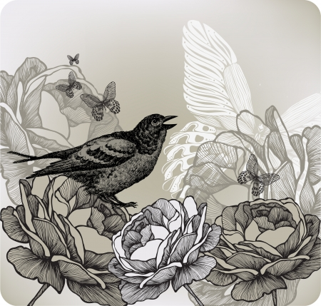 Floral background with roses and bird sitting, hand-drawing. Vector illustration. Vector