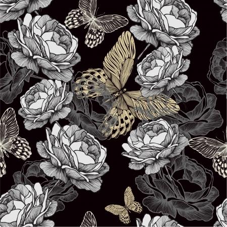 rosas negras: Patrón sin fisuras con flores rosas y mariposas sobre fondo negro.