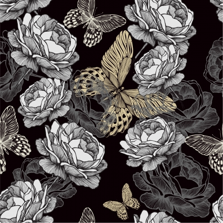 Seamless pattern with blooming roses and butterflies on black background. Vector