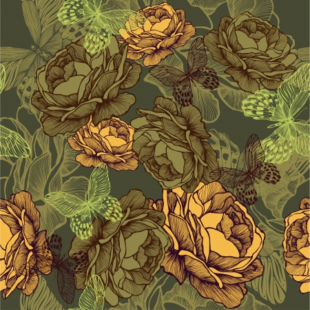 flower sketch: Vintage seamless background with roses and butterflies. Vector illustration.