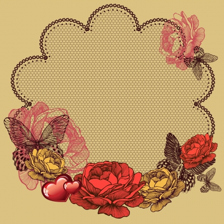 Background with blooming roses, lace napkin and butterflies. Vector illustration. Vector