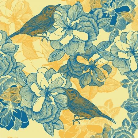 blackbird: Bez szwu deseń z róż i ptaków kos. Ilustracji wektorowych.
