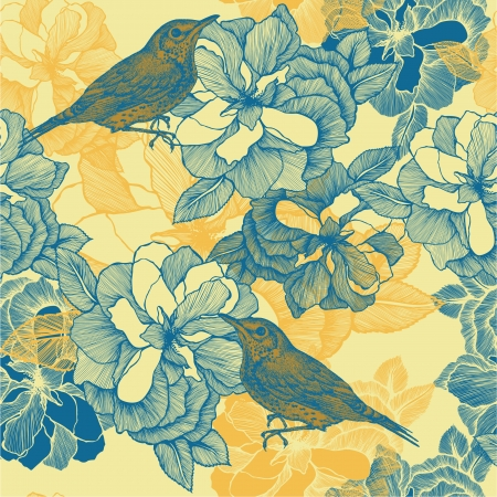 blackbird: Seamless pattern with roses and bird blackbird. Vector illustration. Illustration