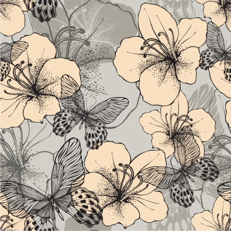 Seamless pattern with butterflies and flowering hibiscus.  Vector