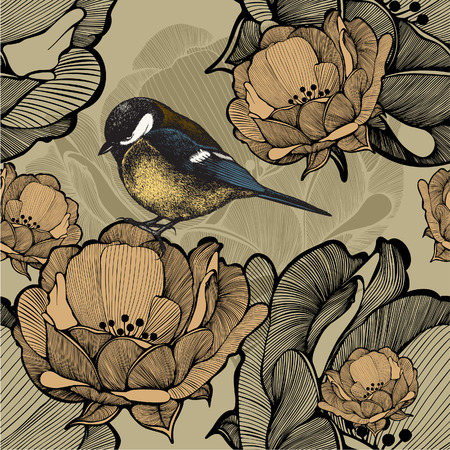 Seamless floral pattern with bird titmouse. Vector illustration. Vector