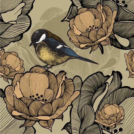 titmouse: Seamless floral pattern with bird titmouse. Vector illustration.