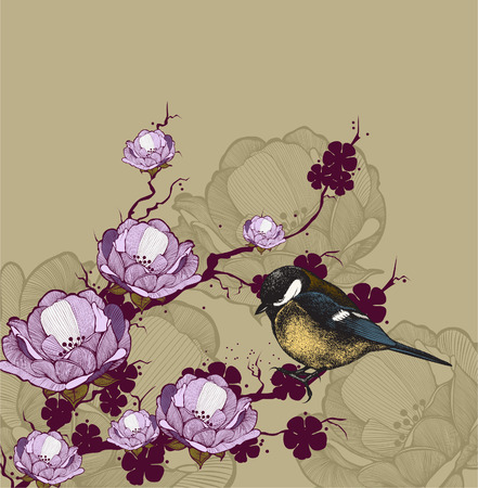 titmouse: Background with flowering branch and bird titmouse