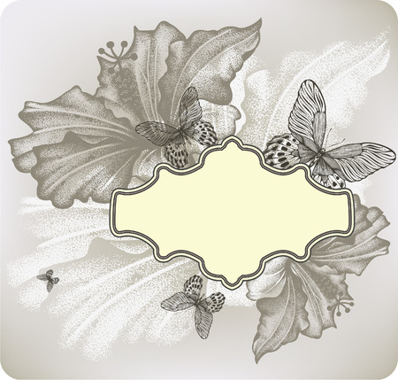 curled corner: Flower background with frame and hibiscus, vector illustration.