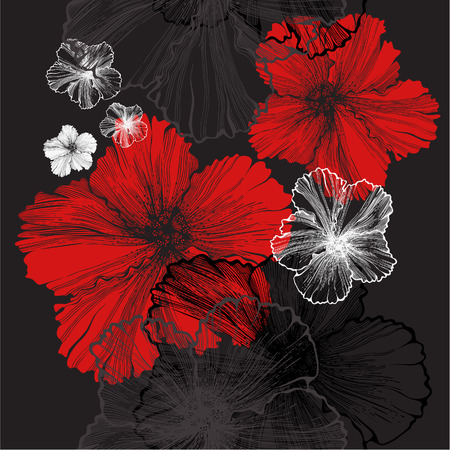 Seamless pattern with hibiscus, vector illustration. Vector