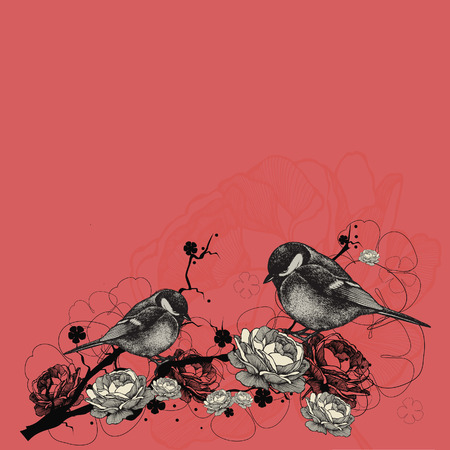 titmouse: Floral background with birds and branches with flowers. Vector illustration. Illustration