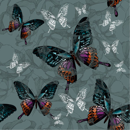 Seamless background with flowers and colorful butterflies, hand-drawing. Vector illustration.