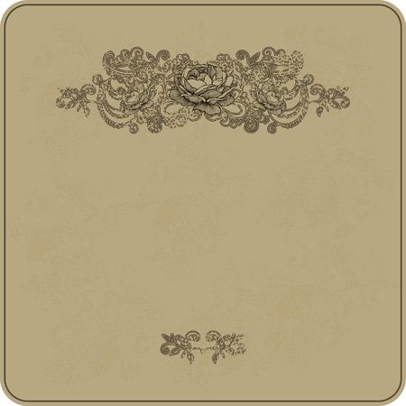 blumen verzierung: Weinlesehintergrund mit Blumenverzierung und Rosen. Vektor-Illustration.