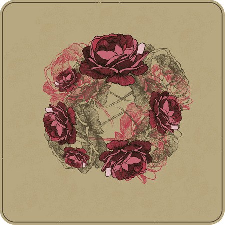 Vector illustration. Floral background with roses, hand-drawing. Иллюстрация