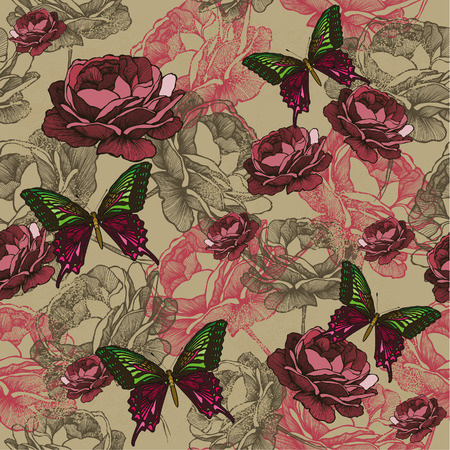 Seamless background with vintage roses and butterflies, hand-drawing. Vector illustration.
