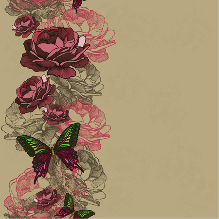 pink hills: Seamless background with ribbon roses and butterflies. Vector illustration.