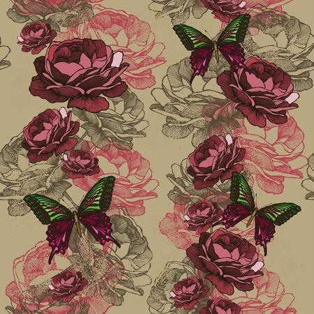 burgundy ribbon: Modello verticale senza soluzione di continuit� con rose e farfalle. Illustrazione vettoriale.