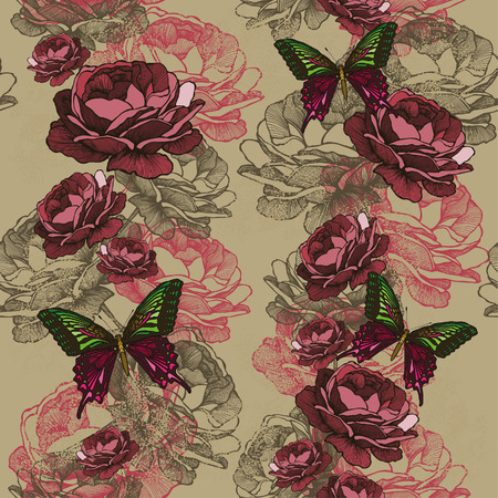 Seamless vertical pattern with roses and butterflies. Vector illustration.