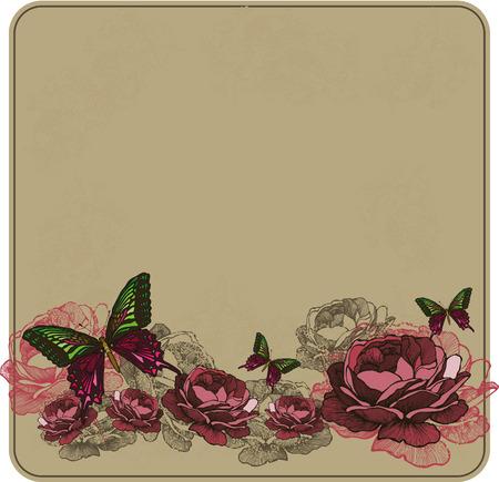 Vintage floral background with roses. Vector illustration.