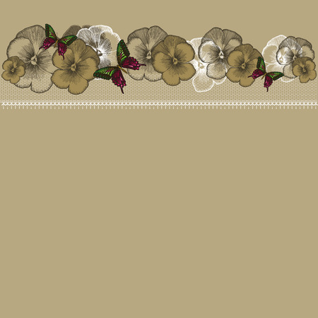 burgundy ribbon: Background with floral ornament and lace, hand-drawing. Vector illustration.