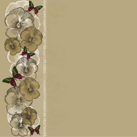 burgundy ribbon: Vintage background with lace and pansies. Vector illustration. Illustration