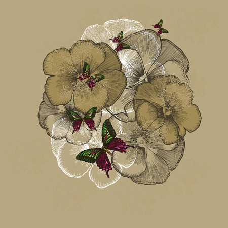 Vintage floral background with pansies. Vector illustration.