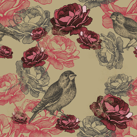 Seamless floral pattern with roses and birds.