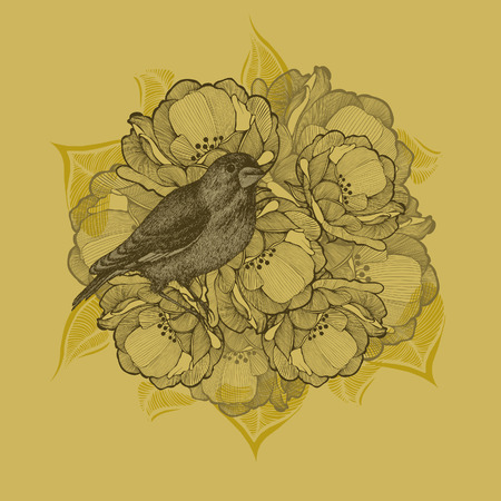 Spring background with flowers and birds, hand-drawing. Vector illustration.