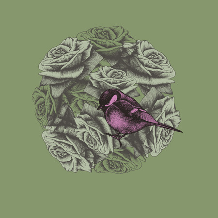 Spring background with flowers and bird titmouse, hand-drawing. Vector illustration. Иллюстрация