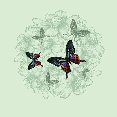 Spring floral background with butterflies, hand-drawing. Vector illustration.