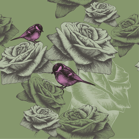 Seamless wallpaper with flowers and birds, hand-drawing. Vector illustration.