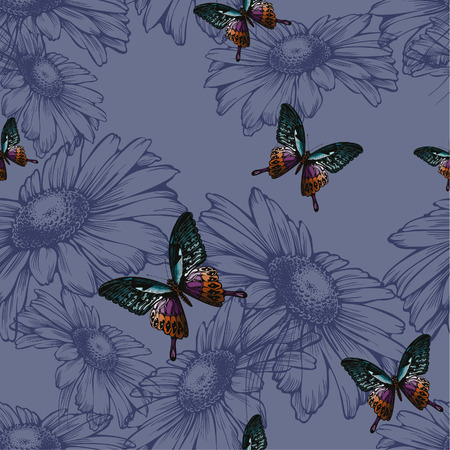 Seamless background with daisies and butterflies, hand-drawing. Vector illustration.