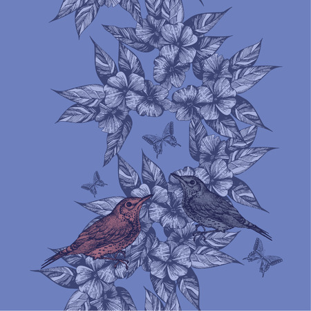 Spring seamless background with birds and butterflies, hand-drawing. Vector illustration. Иллюстрация