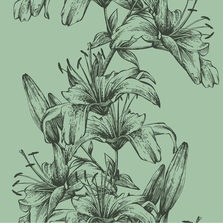 Seamless background with tiger lilies, hand-drawing. Vector illustration. Иллюстрация