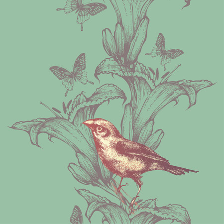 Seamless wallpaper with lilies and birds, hand-drawing. Vector illustration. Иллюстрация