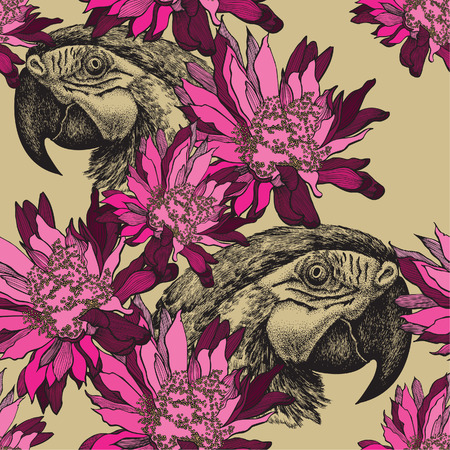 Seamless wallpaper with pink flowers and parrot, hand-drawing. Vector illustration.
