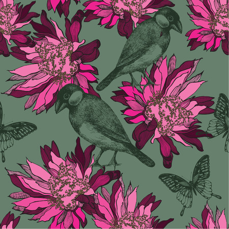 Seamless wallpaper with abstract flowers and birds, hand-drawing. Vector illustration. Иллюстрация