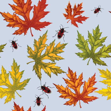 Seamless wallpaper with autumn maple leaves and red beetles, hand-drawing. Vector illustration.