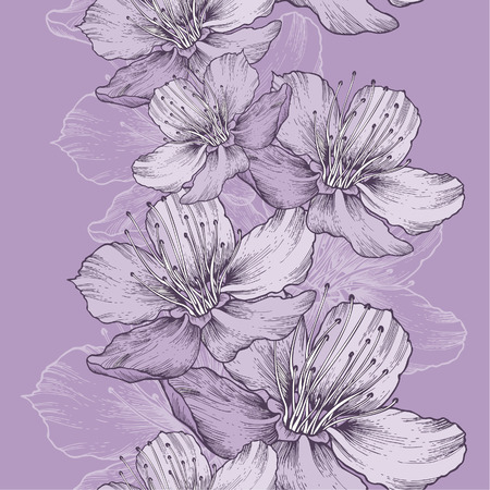 Seamless spring background with flowers of apple, hand-drawing. Vector illustration. Иллюстрация